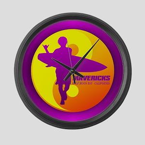 Mavericks - Half Moon Bay Large Wall Clock