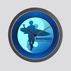 Mavericks-Half Moon Bay (blue) Wall Clock