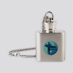 Mavericks-Half Moon Bay (blue) Flask Necklace
