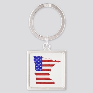Minnesota Flag Square Keychain