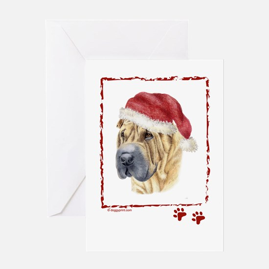 Merry Christmas Shar Pei Greeting Cards