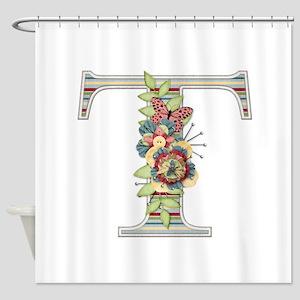 Monogram Letter T Shower Curtain