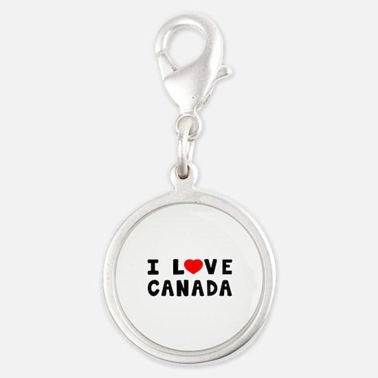 I Love Canada Silver Round Charm