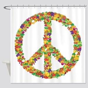 Fruit and Vegetable Peace Sign Shower Curtain