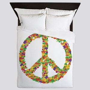 Fruit and Vegetable Peace Sign Queen Duvet
