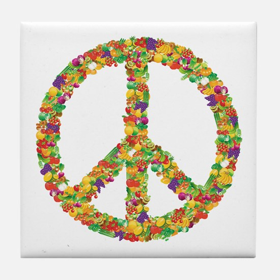Fruit and Vegetable Peace Sign Tile Coaster