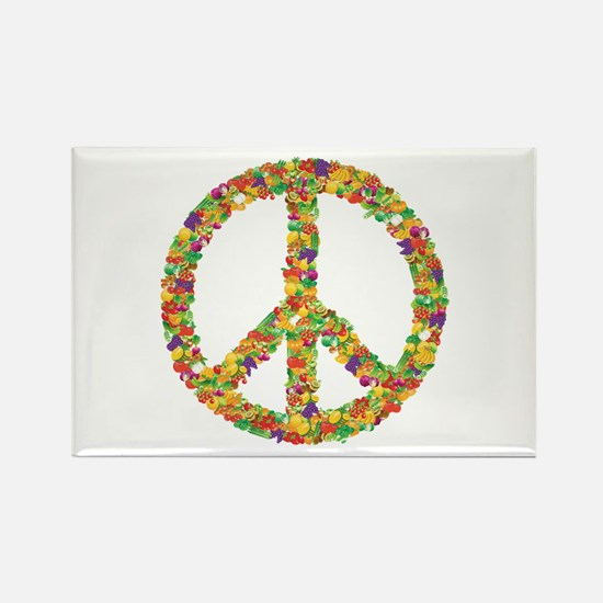 Fruit and Vegetable Peace Sign Rectangle Magnet