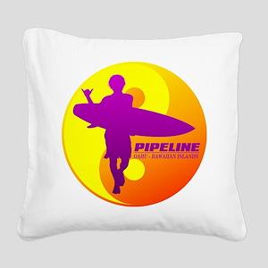 Pipeline-Oahu Square Canvas Pillow