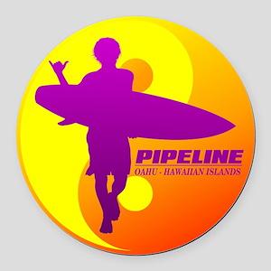 Pipeline-Oahu Round Car Magnet