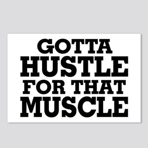 Gotta Hustle For That Muscle Black Postcards (Pack