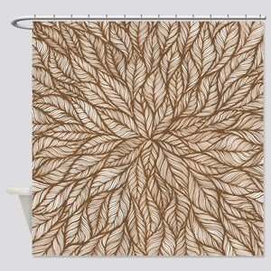 Leafy Brown Shower Curtain
