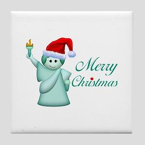 Merry Christmas Statue Of Liberty Tile Coaster