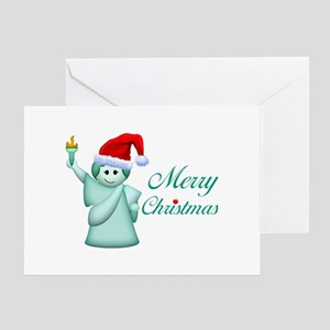 Merry Christmas Statue Of Liberty Greeting Card