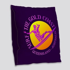 Gold Coast Surfing Burlap Throw Pillow