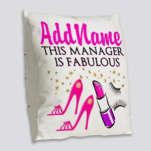 PERSONALIZE MANAGER Burlap Throw Pillow