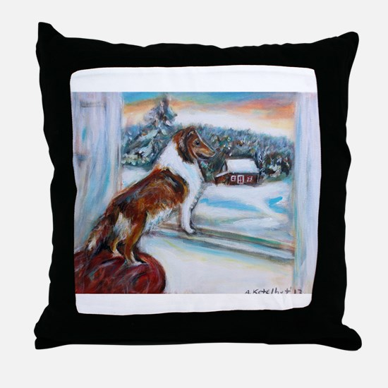Sheltie Holiday Throw Pillow