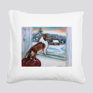 Sheltie Holiday Square Canvas Pillow