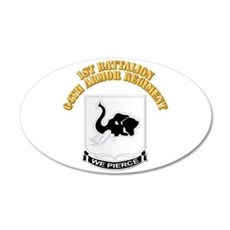 DUI - 1st Bn 64th Armor Regiment with Text Wall Decal