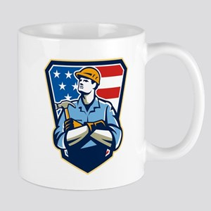 American Builder Carpenter Hammer Crest Retro Mugs