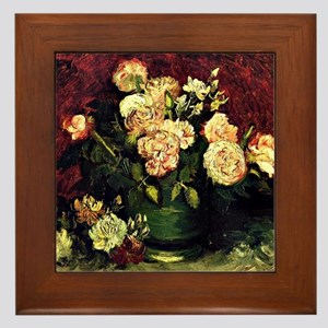 Van Gogh - Bowl with Peonies and Roses Framed Tile