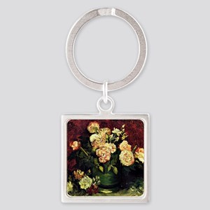 Van Gogh - Bowl with Peonies and R Square Keychain
