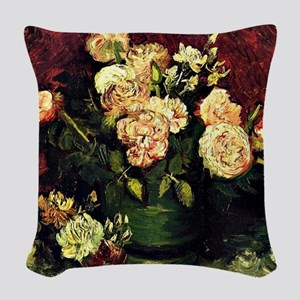 Van Gogh - Bowl with Peonies a Woven Throw Pillow