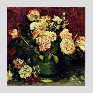 Van Gogh - Bowl with Peonies and Rose Tile Coaster