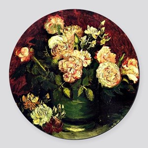 Van Gogh - Bowl with Peonies and  Round Car Magnet