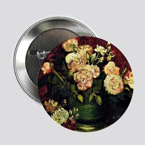 """Van Gogh - Bowl with Peonies and Rose 2.25"""" Button"""