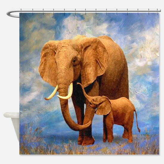 Elephant Mother Shower Curtain