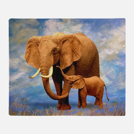Elephant Mother Throw Blanket