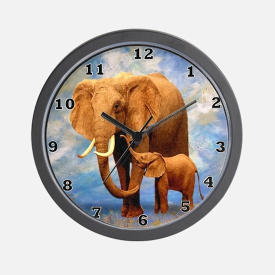 Elephant Mother Wall Clock