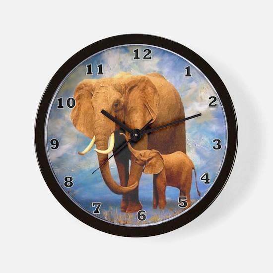 Elephant Mother Wall Clock