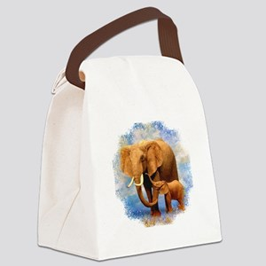 Elephant Mother Canvas Lunch Bag
