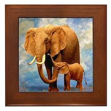 Elephant Mother Framed Tile