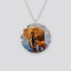 Elephant Mother Necklace Circle Charm