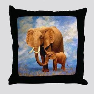 Elephant Mother Throw Pillow