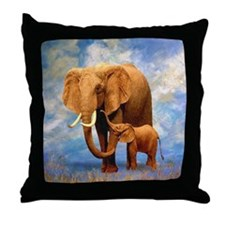 Elephant Mother Throw Pillow