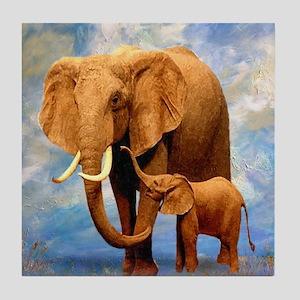 Elephant Mother Tile Coaster