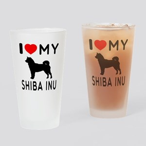 I Love My Dog Shiba Inu Drinking Glass