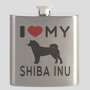 I Love My Dog Shiba Inu Flask