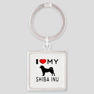 I Love My Dog Shiba Inu Square Keychain