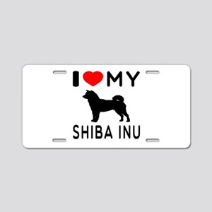 I Love My Dog Shiba Inu Aluminum License Plate