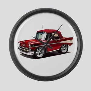 BabyAmericanMuscleCar_57BelR_Red Large Wall Clock