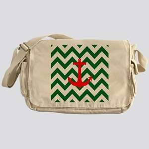 Christmas Red Nautical Anchor Green  Messenger Bag