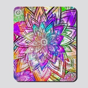 Colorful Vintage Floral Pattern Drawing  Mousepad