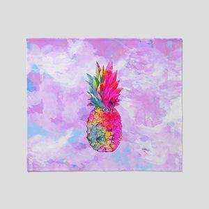 Bright Neon Hawaiian Pineapple Tropi Throw Blanket
