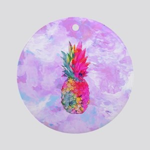 Bright Neon Hawaiian Pineapple Trop Round Ornament