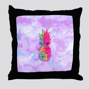 Bright Neon Hawaiian Pineapple Tropic Throw Pillow