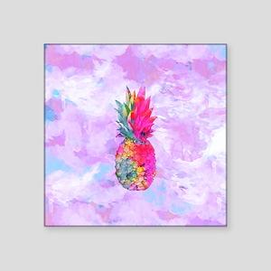 "Bright Neon Hawaiian Pineap Square Sticker 3"" x 3"""